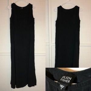 Eileen Fisher Black 100% Silk Maxi Dress